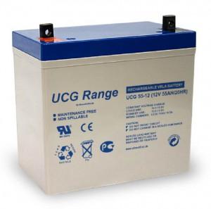 Batterie plomb scellée à électrolyte gelifié ULTRACELL UCG55-12 - 12V - 55Ah