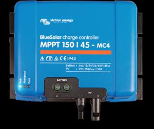Régulateur solaire de charge décharge MPPT avec afficheur LCD VICTRON BlueSolar MPPT 150/45 MC4 - 12/24/48V - 45A - connectique photovoltaïque MC4