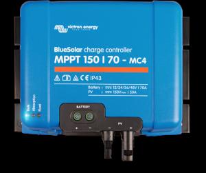 Régulateur solaire de charge décharge MPPT avec afficheur LCD VICTRON BlueSolar MPPT 150/70MC4 - 12/24/48V - 70A - connectique photovoltaïque MC4